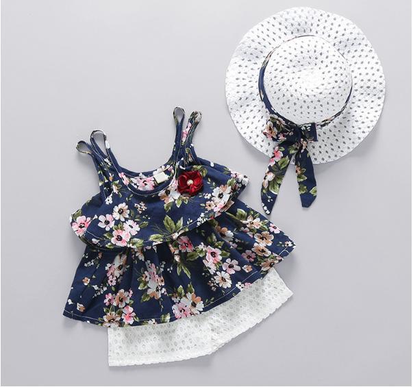 Bộ đồ bé gái mùa hè không tay (kèm nón)
