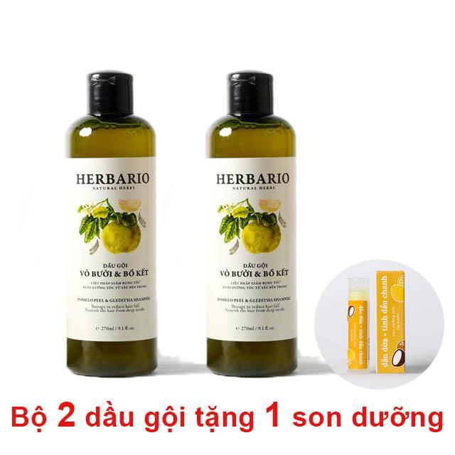 Giá Bán Bộ 2 Chai Dầu Gội Bưởi Bồ Kết Herbario Tặng 1 Son Dưỡng Moi Lip Care Cocoon