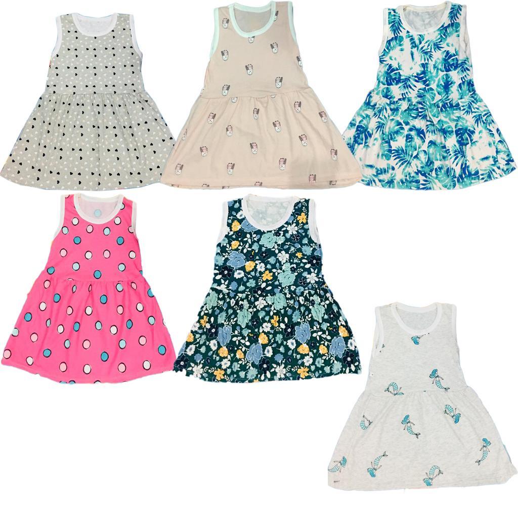Combo 5 Váy bé gái chất cotton cho bé 5 tuổi mầu sắc bất kỳ (VAY05 - Size 5)