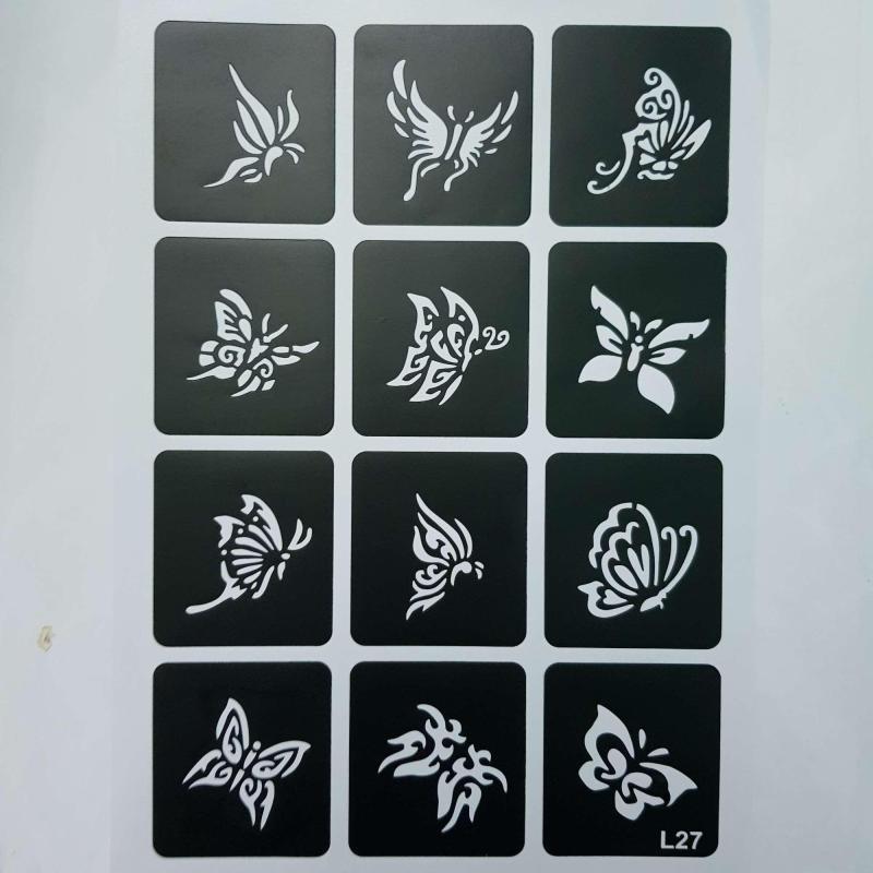1 trang Khuân vẽ henna hình bướm cao cấp