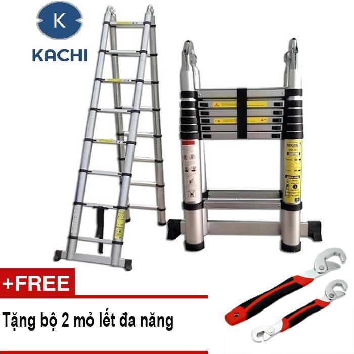 Thang nhôm rút chữ A 3m8 Kachi MK02 + Tặng bộ 2 mỏ lết đa năng