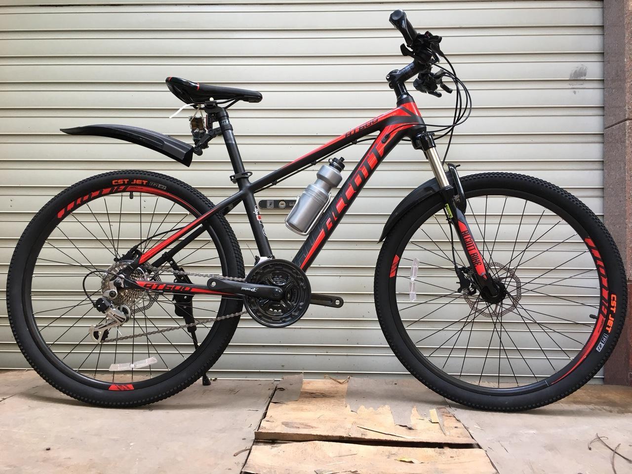 Xe đạp thể thao cao cấp - AT 600- Khung nhôm - Phanh dầu - Đỏ đen
