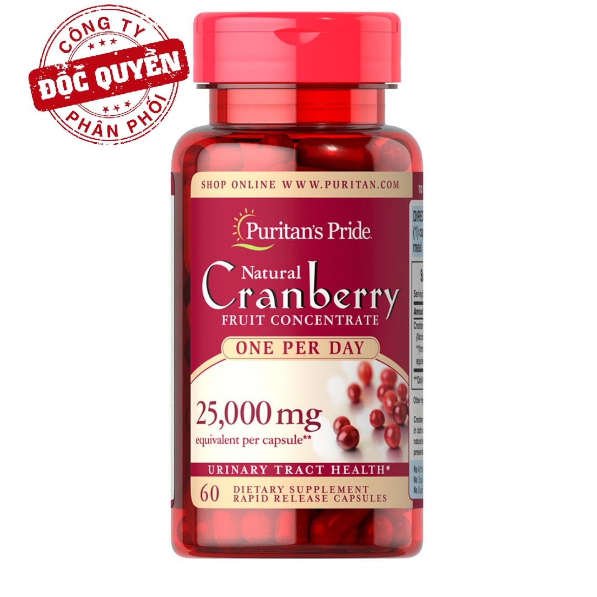 Viên uống giảm viêm đường tiết niệu, giảm tiểu dắt, chống oxy hóa Puritan's Pride Natural Cranberry 60 viên