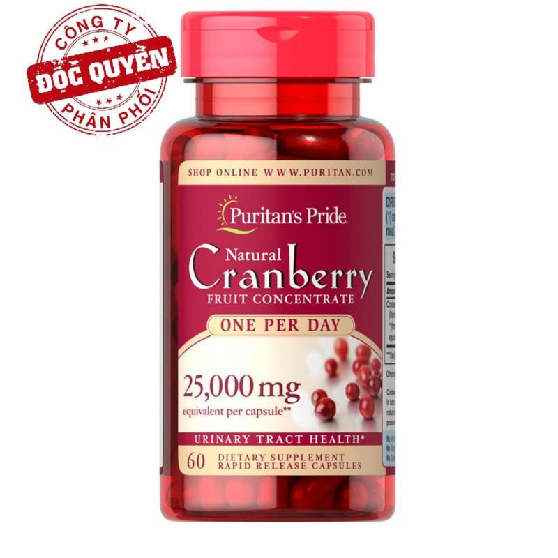 Viên uống giảm viêm đường tiết niệu, giảm tiểu dắt, chống oxy hóa Puritans Pride Natural Cranberry 60 viên cao cấp