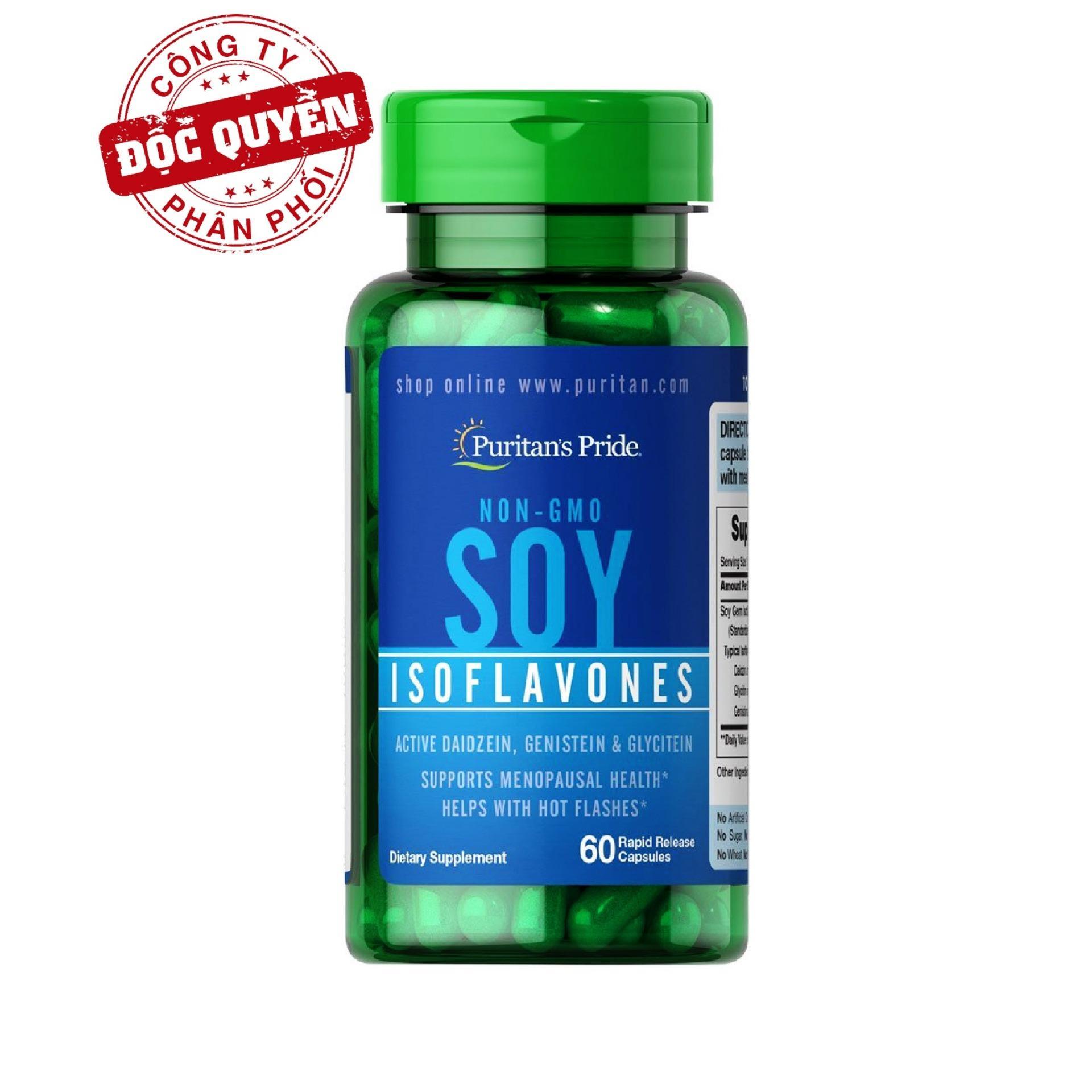 Viên uống bổ sung nội tiết tố, giúp giảm các triệu chứng của phụ nữ tiền mãn kinh chiết xuất mầm đậu nành không biến đổi gen Non-GMO Soy Isoflavones 750mg 60 viên