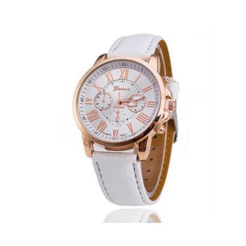 Hình ảnh Đồng hồ nữ dây da tổng hợp Geneva GE003 (Trắng)