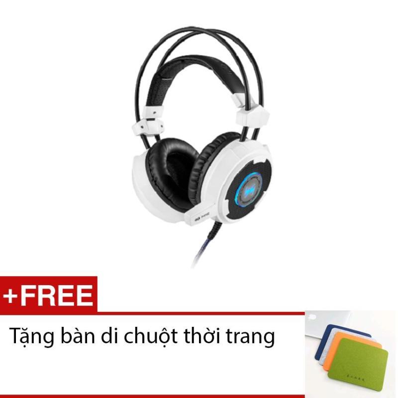 Tai nghe gaming Wangming WM8900 (trắng - Tặng bàn di chuột thời trang)