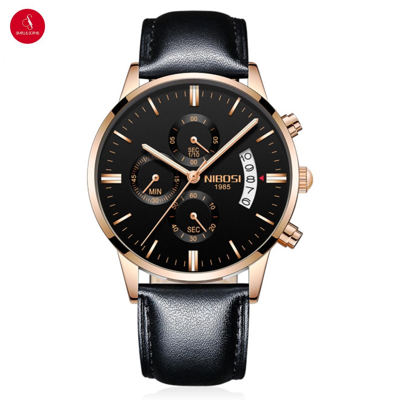 Nơi bán Đồng hồ nam NIBOSI 2309 cap cấp 43mm (Đen vàng dây da) + Tặng hộp đựng đồng hồ thời trang & Pin
