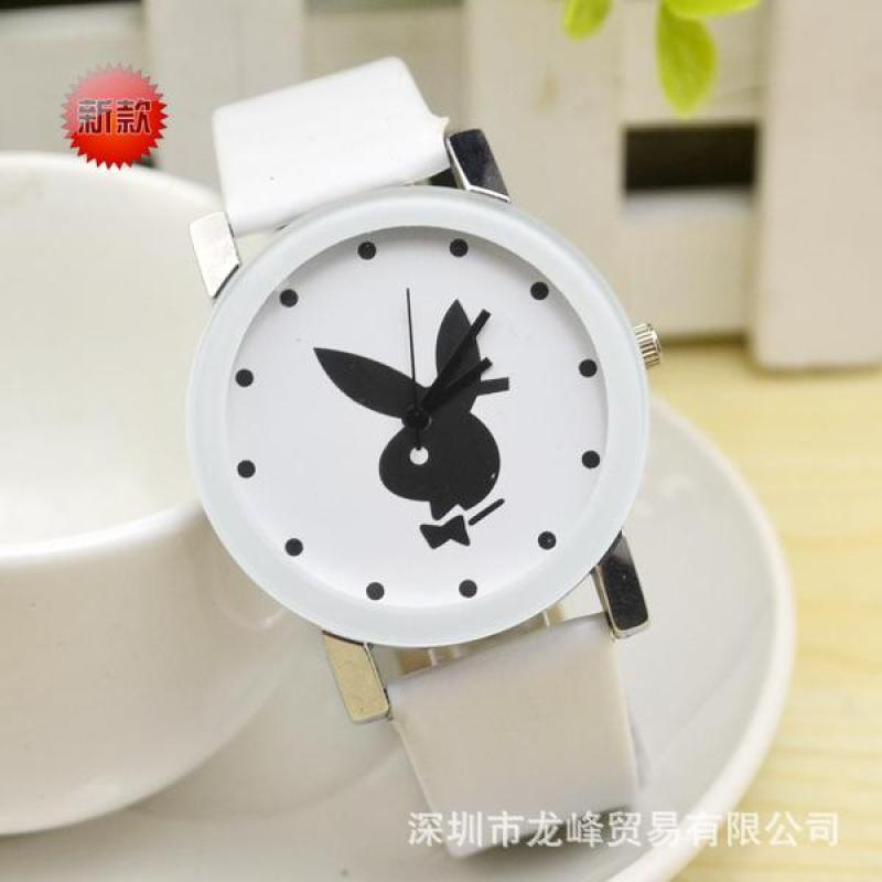 Supply Playboy quartz belt watch fashion little beard watch fashion watch wholesale ladies watch wholesale White Malaysia