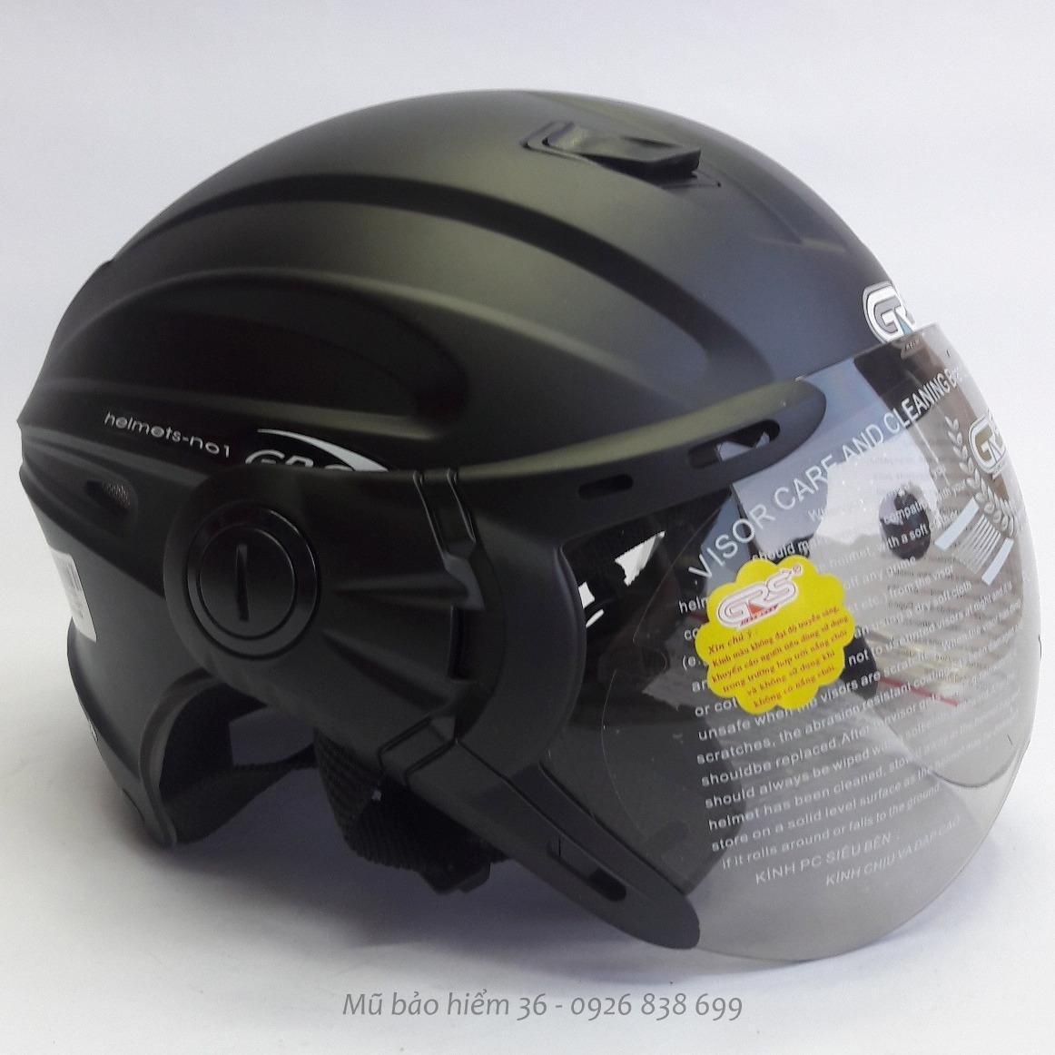 Ôn Tập Mũ Bảo Hiểm Nửa Đầu Co Kinh Grs A737K Mau Đen Nham