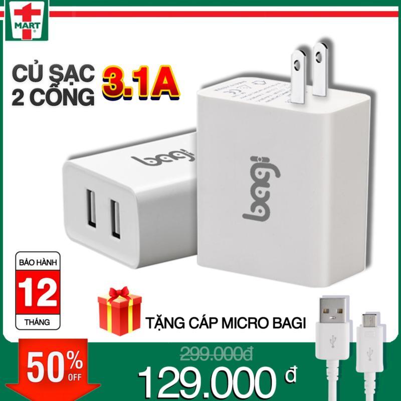 CỐC SẠC NHANH BAGI 2 CỔNG USB THEO TIÊU CHUẨN CE(CHÂU ÂU)- CE-M23