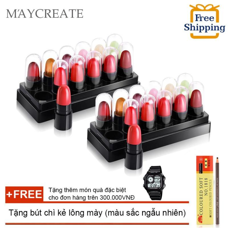 Bộ 24 thỏi son mẫu thử Maycreate 5g + Tặng bút chì kẻ lông mày ( Đơn hàng mỹ phẩm trên 300k tặng thêm 1 đồng hồ thể thao như quảng cáo )(OEM)