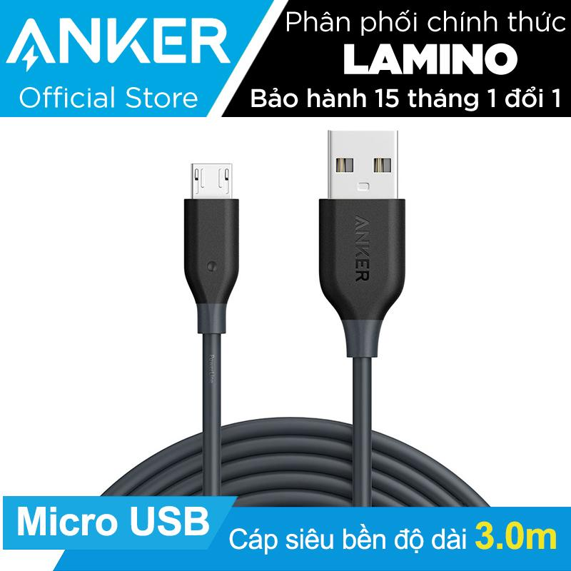 Bán Cap Sạc Sieu Bền Anker Powerline Micro Usb Dai 3M Xam Hang Phan Phối Chinh Thức Mới