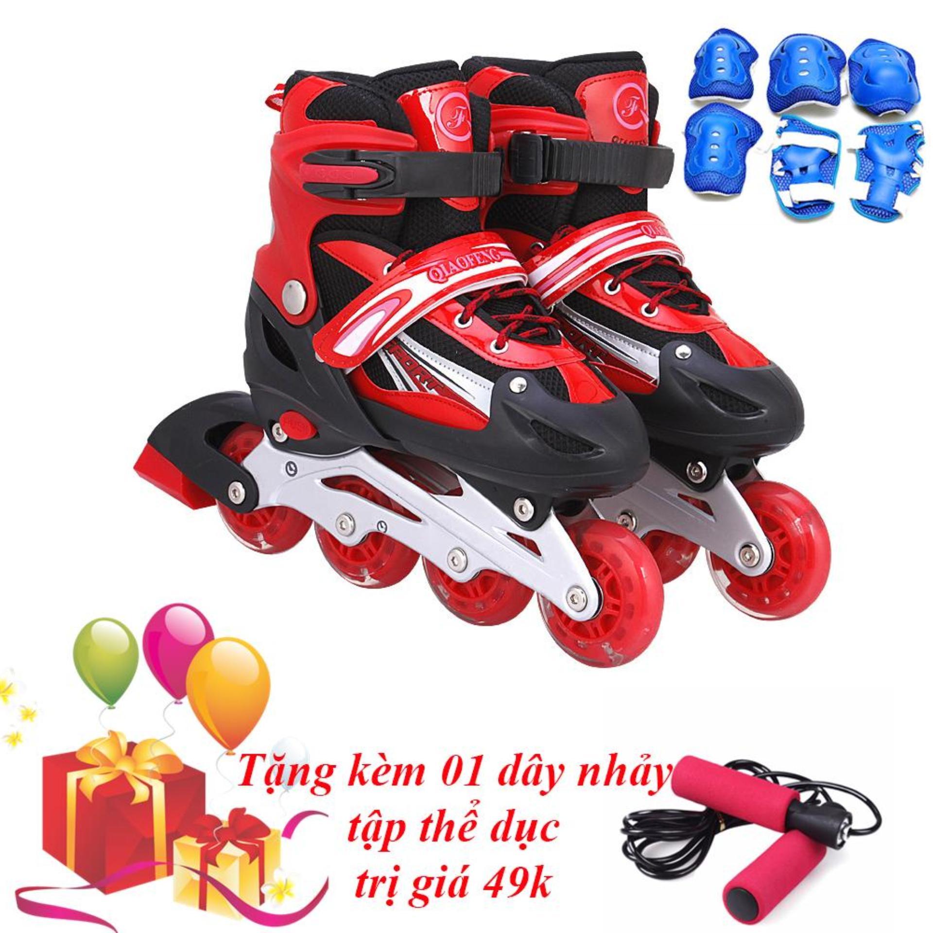 Giày Trượt Patin Phát Sáng Toàn Bộ Bánh & Đồ Bảo Hộ (Size L) - TiGi Mall - Tặng Kèm 1 Dây Nhảy