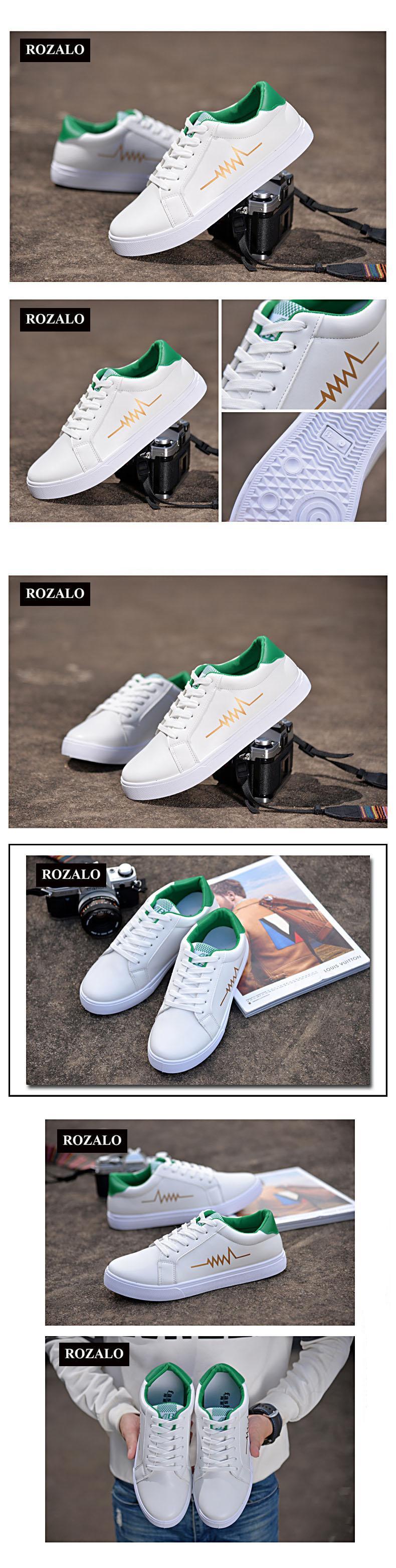 Giày da nam thời trang đế bằng dây buộc Rozalo RW3519WX-Trắng Xanh