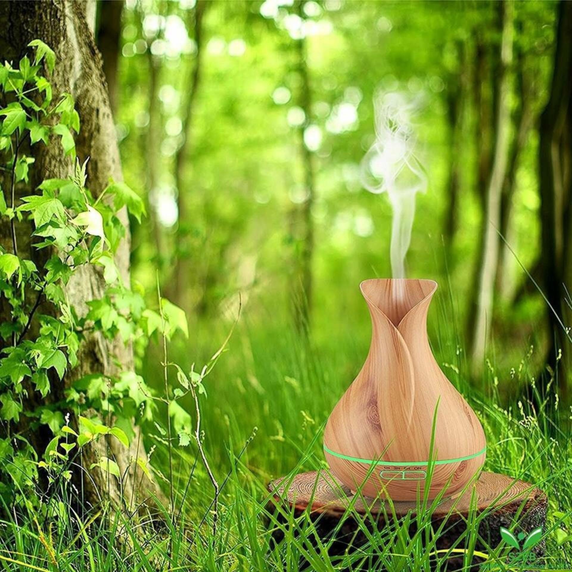 Bảng giá Máy khuếch tán tinh dầu bình hoa nâu dung tích 400ml  lộc không khí, tạo ẩm tặng 10ml tinh dầu ngọc lan tây Ngọc Tuyết