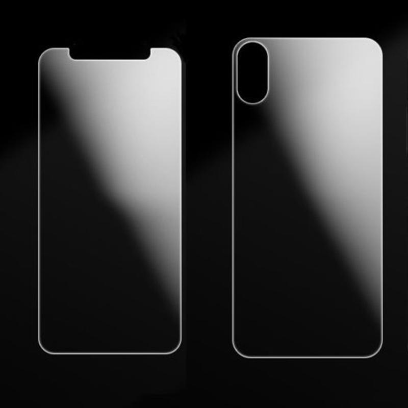2 Pcs Front + Back Tempered Glass Screen Protector Ultra Clear HD Anti-Scratch for iPhone X