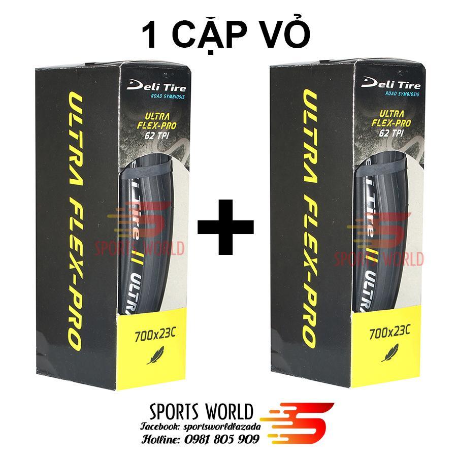 Combo 1 cặp gồm 2 cái vỏ xếp xe đạp  DELI ULTRA FLEX-PRO 700x23C (giá tiết kiệm hơn khi mua lẻ)