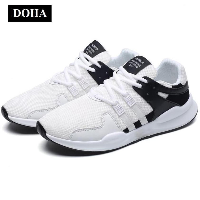Hình ảnh Giày Sneaker Thể Thao Nam DOHA Shop SNN35-58BW Trắng Phối Đen