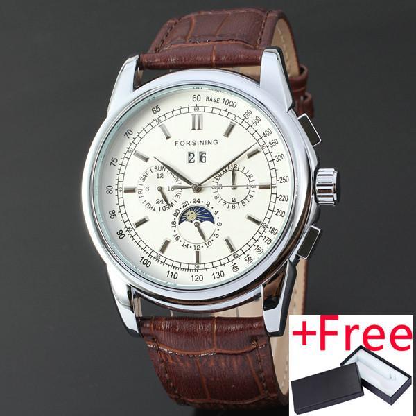 FORSINING ผู้ชนะ 177 ผู้ชายนาฬิกา Royal นาฬิกาข้อมือกลอัตโนมัตินาฬิกาแท้สายหนังแท้ทำงานสายรอง 24Hr ดวงจันทร์การออกแบบปฏิทิน-นานาชาติ