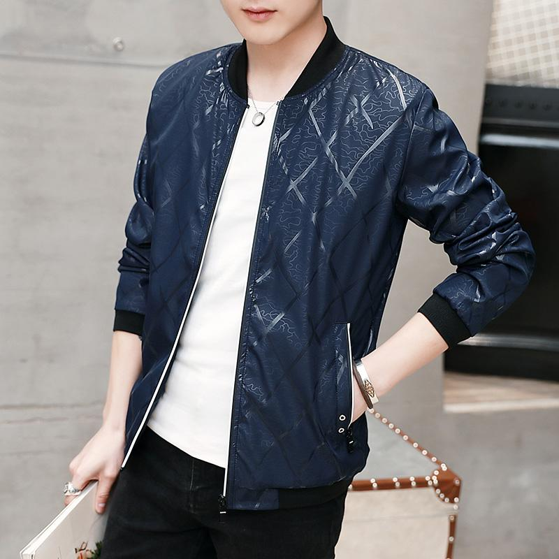 90915509a77 Korean Spring and Autumn thin youth baseball Jacket for men (Dark blue  color) (