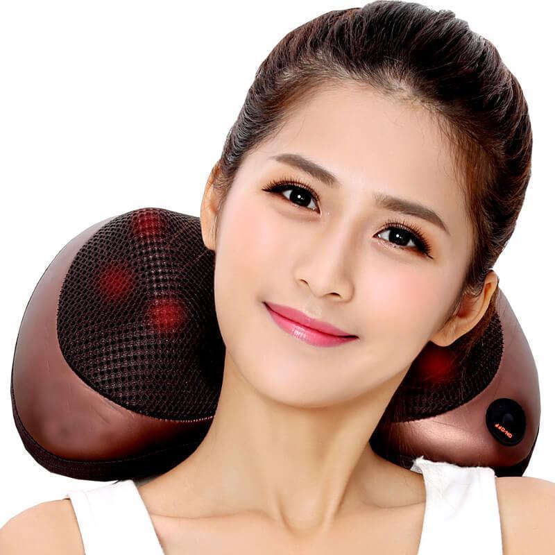 Ôn Tập Trên Gối Massage 6 Bi Hồng Ngoại Trong Bi Massage Pillow Pl 819 Tặng Đầu Cắm Oto