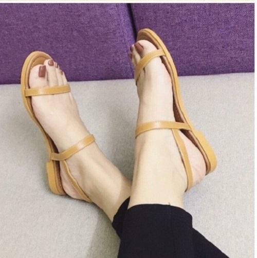 Giày MYS Sandal 2 dây 12 Ly đế cao su - VÀNG