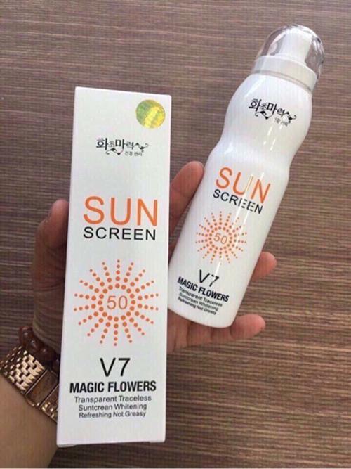 Hình ảnh Kem chống nắng toàn thân dưỡng trắng da dạng xịt SUN SCREEN V7 Hàn Quốc 180ml