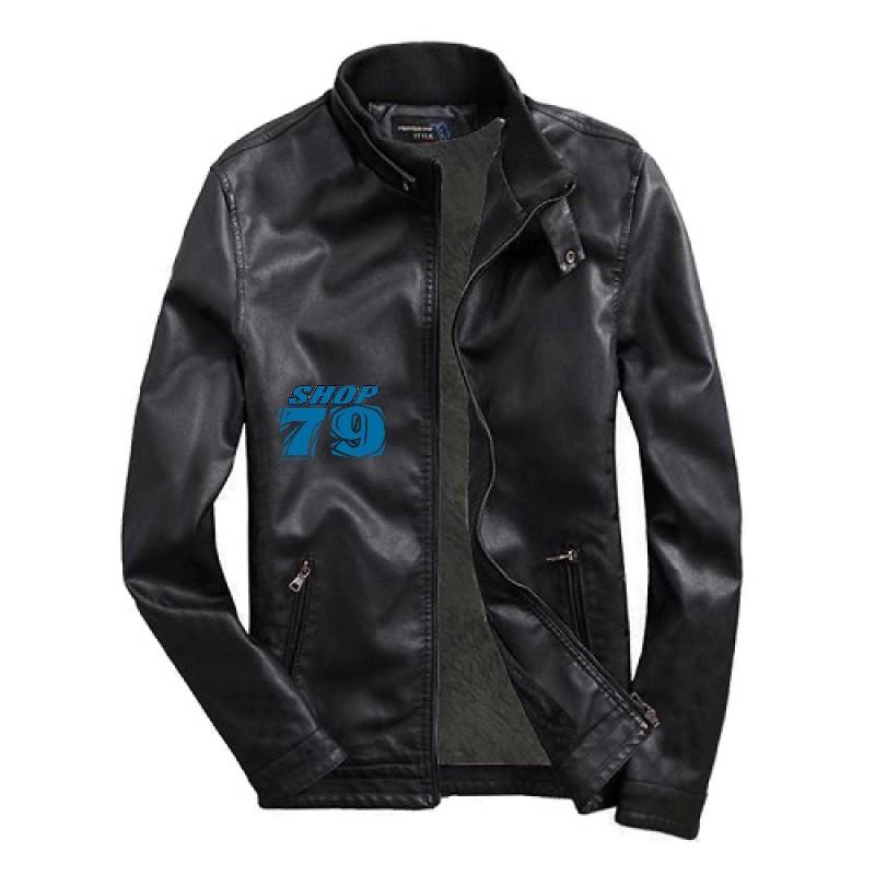 Giá Bán Ao Khoac Da Nam Trơn Leather Black Cao Cấp Qba6 Trực Tuyến Hồ Chí Minh
