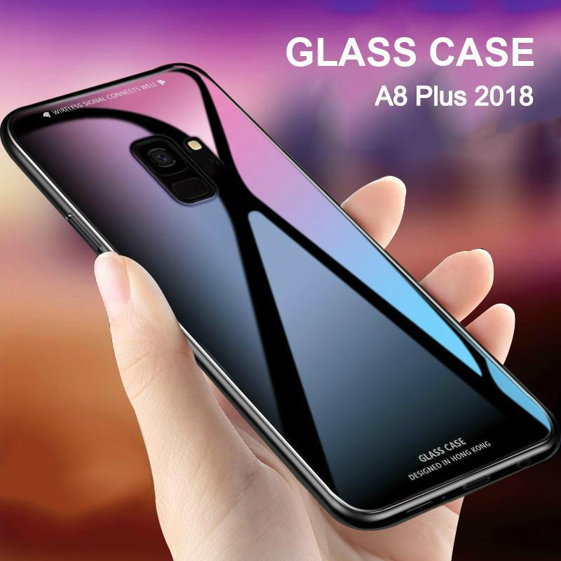 "Hình ảnh Galaxy A8 Plus 2018 Case ""HONG KONG Design"" Luxury Fashion Tempered Glass Protector Casing for Samsung Galaxy A8 Plus 2018 Glass Back Cover"