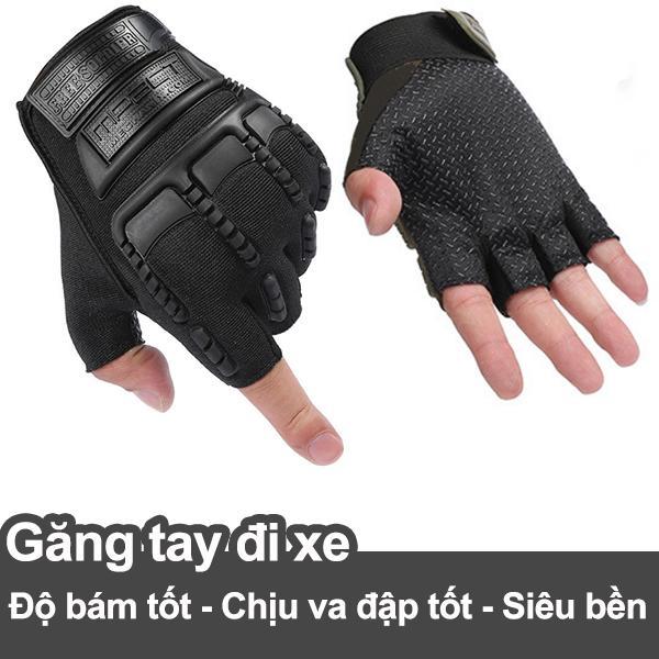 Găng tay đi xe cụt ngón thời trang có đệm cao su bảo vệ, độ bám tốt M1