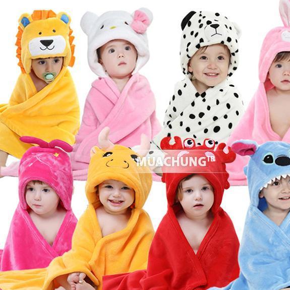 chăn ủ hình thú có mũ carter 2 lớp mềm mịn cho bé
