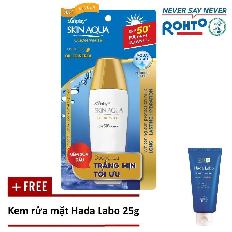 Sữa chống nắng hằng ngày dưỡng trắng Sunplay Skin Aqua Clear White SPF 50+ PA++++ 25g + Tặng Kem rửa mặt Hada Labo 25g nhập khẩu
