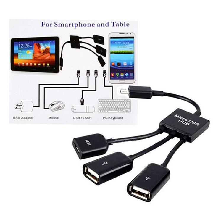Hình ảnh Cáp OTG Micro USB Hub OTG hỗ trợ sạc nguồn cho Điện thoại, Máy tính bảng