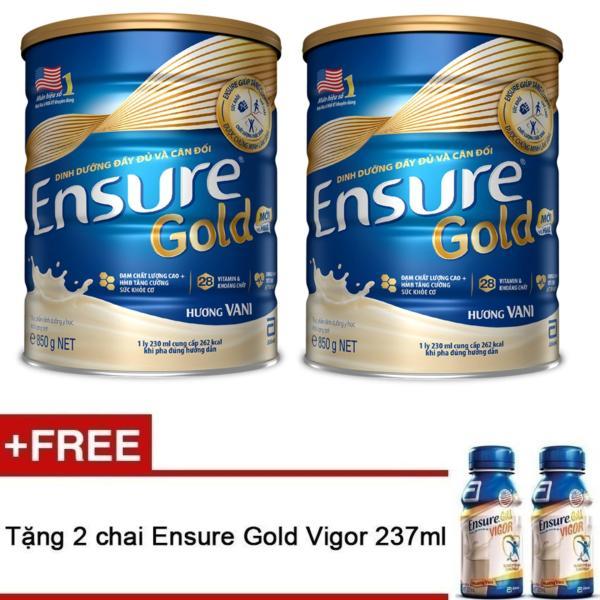 Bộ 2 lon sữa bột Ensure Gold Hương Vani 850g tặng 2 Ensure Vigor Gold 237ml
