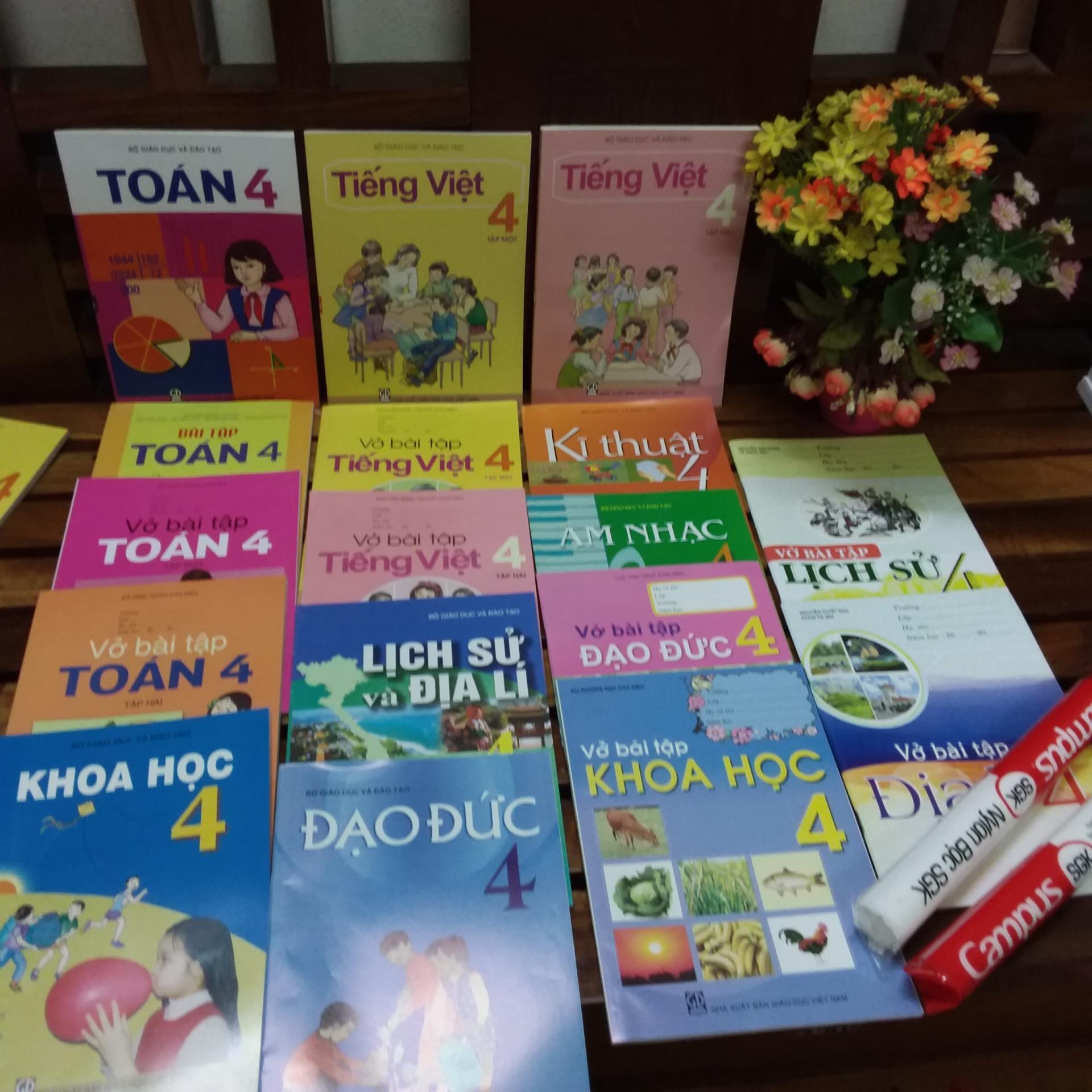 Mua Bộ sách giáo khoa lớp 4 ( sách + bài tập gồm 19  cuốn + 2 tập bọc sách giáo khoa )