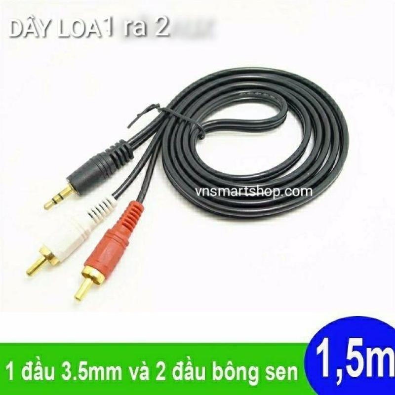 Dây loa vi tính , Dây loa 1 ra 2 loại tốt chất lượng cao. Phụ kiện âm thanh dây loa 3.5mm ra 2 đầu bông sen