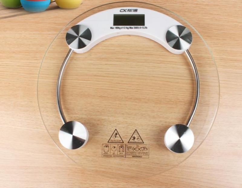 Cân sức khỏe điện tử personal scale 26 cm (kính trong suốt) kính cường lực tròn – trắng nhập khẩu