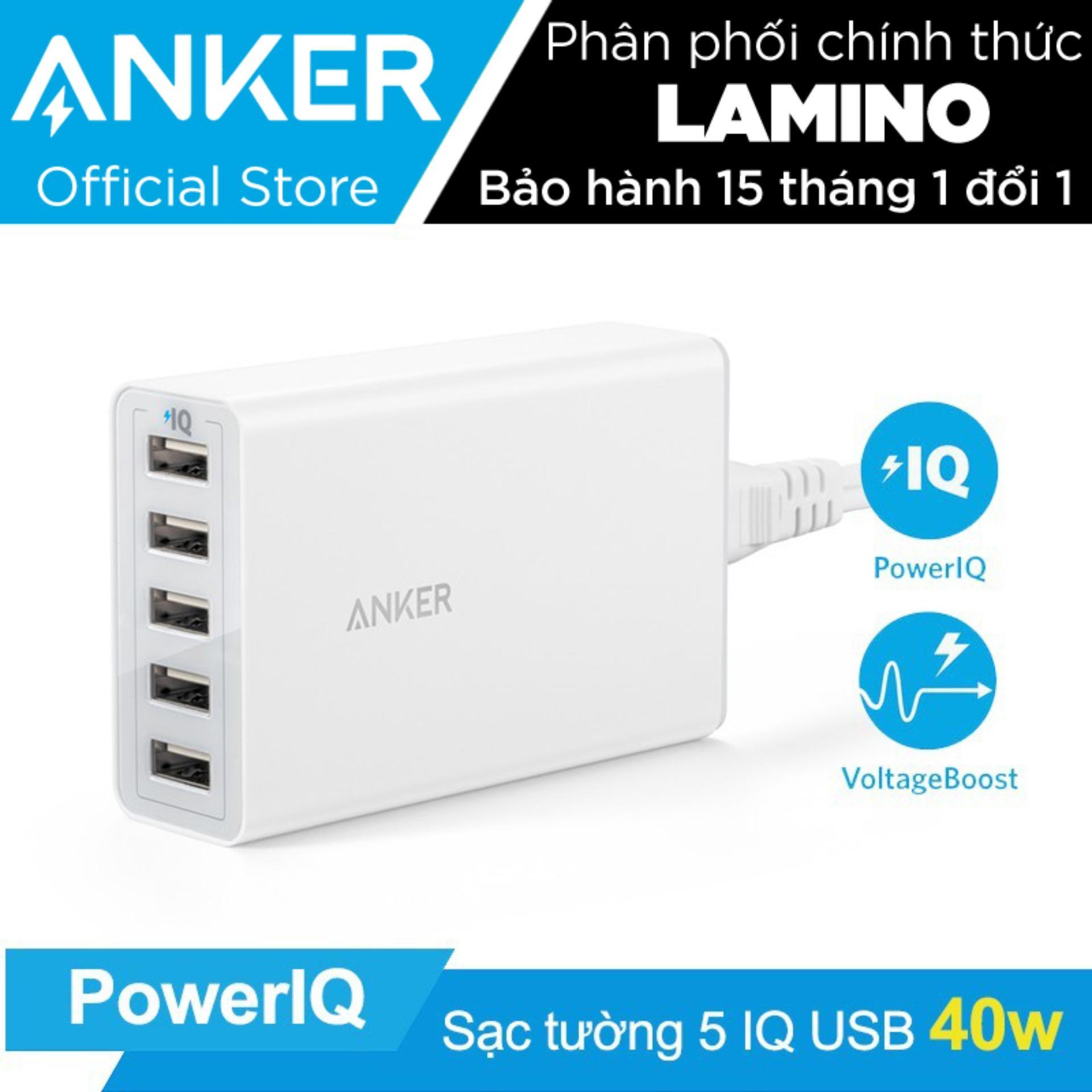 Cửa Hàng Sạc Anker Powerport 5 Cổng 40W Co Poweriq Trắng Hang Phan Phối Chinh Thức Trong Hồ Chí Minh