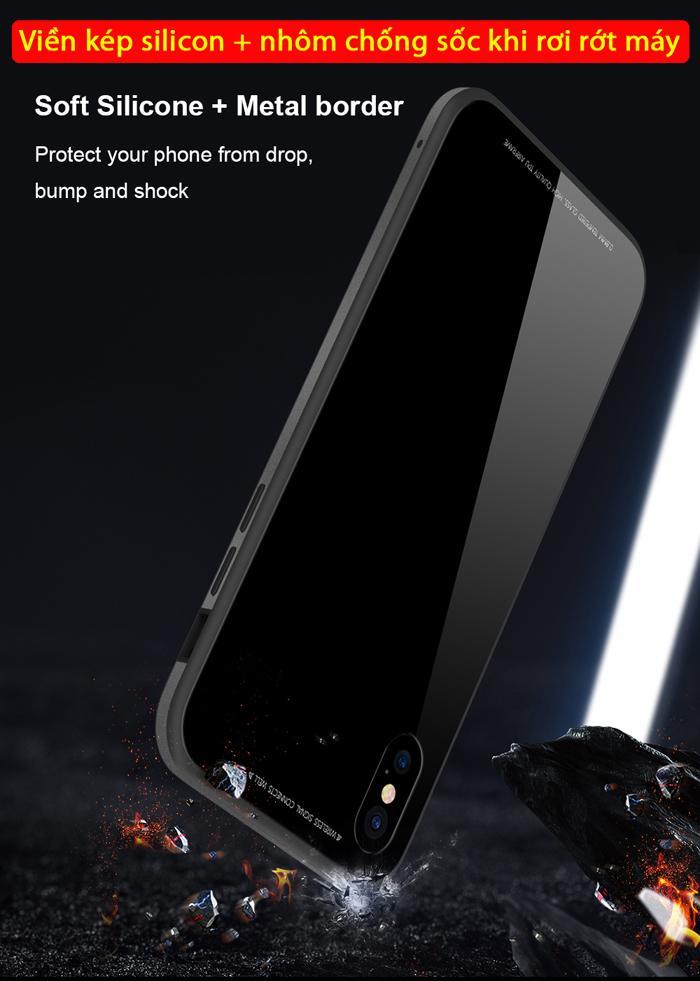 Ốp lưng Iphone X / Iphone 10 Sulada Glass 9H Metal tuyệt đẹp 3