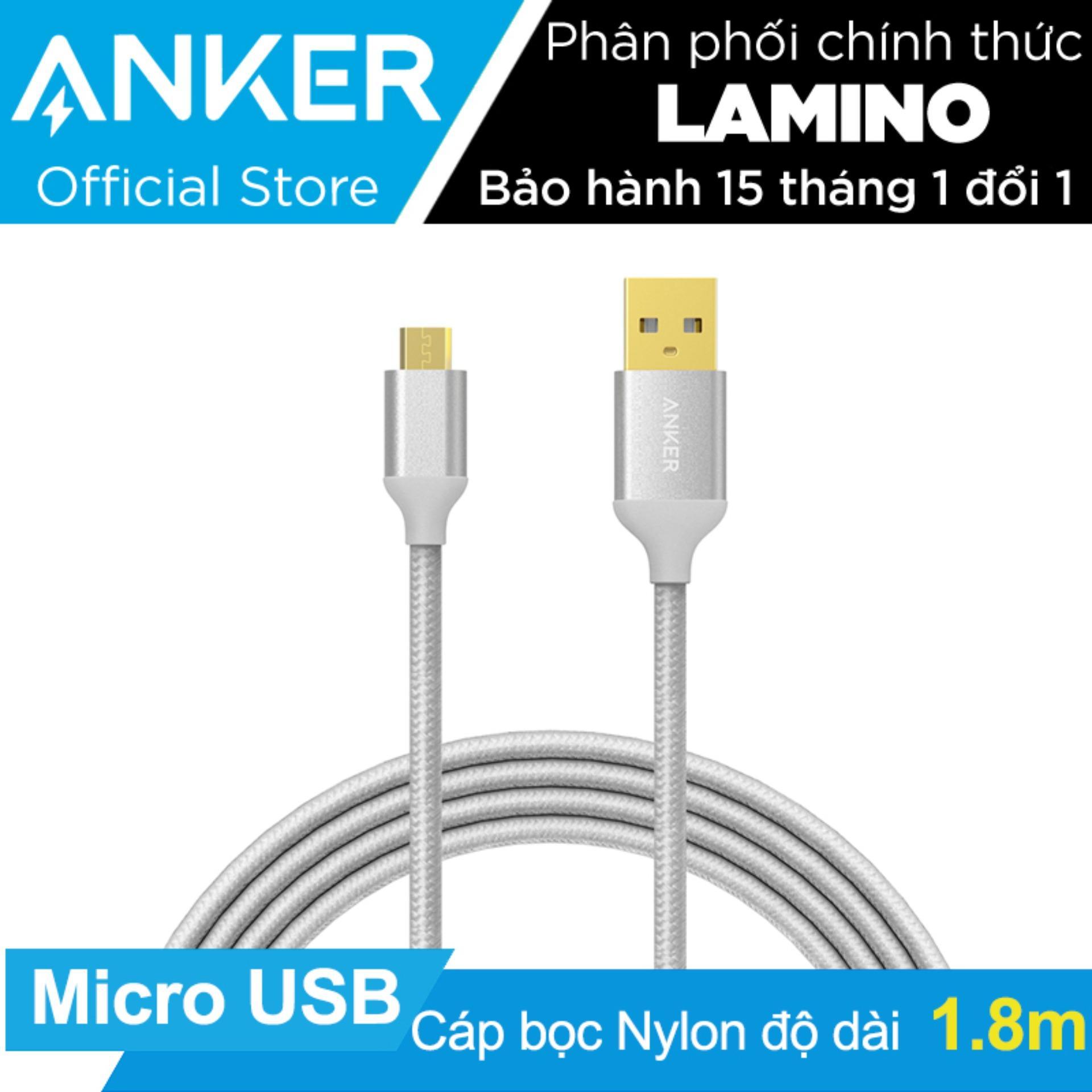 Cap Sạc Micro Usb Anker Bọc Nylon Dai 1 8M Bạc Hang Phan Phối Chinh Thức Anker Rẻ Trong Hồ Chí Minh