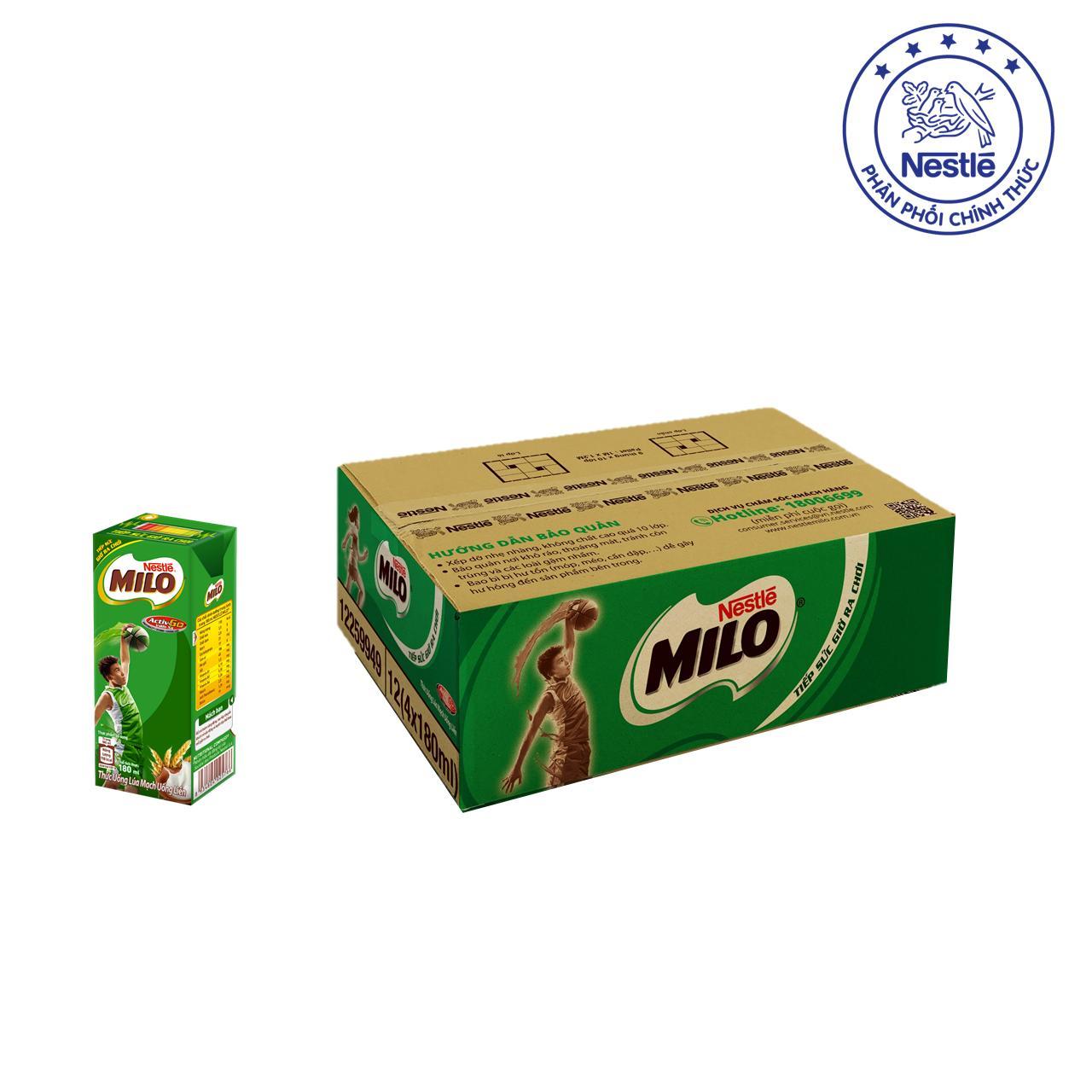 Mã Khuyến Mại Thung 12 Lốc Nestle Milo Uống Liền 48 Hộp X 180Ml Milo