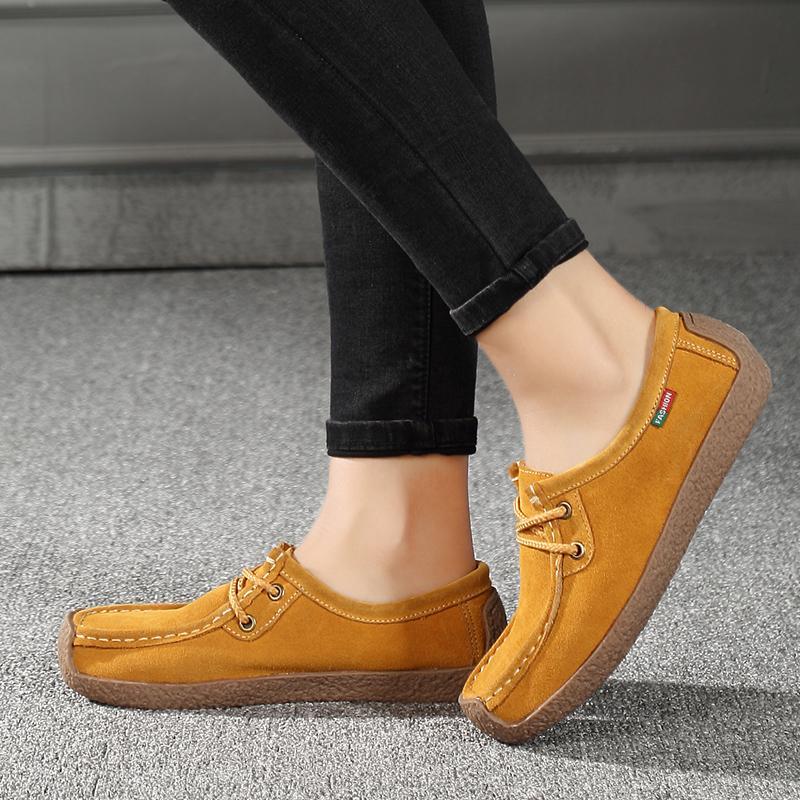 Detail Gambar ZNPNXN Sepatu Ibu Lembut Kulit Sepatu Datar Sepatu Ibu Kasual  Wanita Datar Mengemudi Sepatu Wanita Sepatu Kasual Sepatu Sepatu Untuk  Wanita ... 9e95178c56