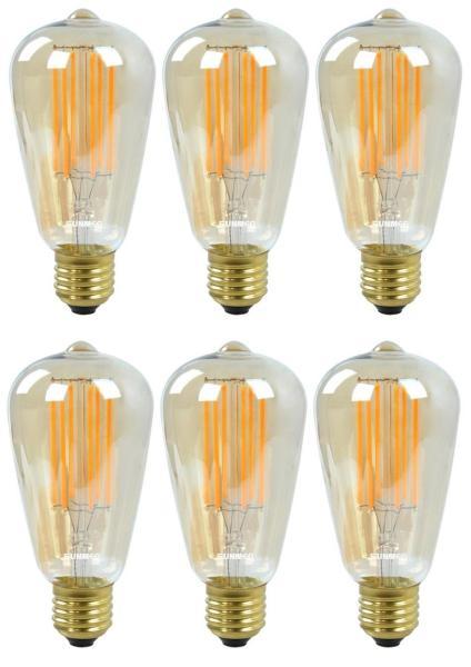 6 Bóng Đèn Led Edison Vintage T64 4W E27 220V - Ánh sáng vàng