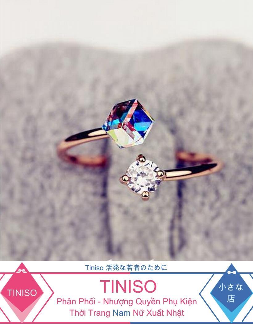 Hình ảnh Combo 2 Nhẫn Gắn Đá Thời Trang Hàn TINISO5003