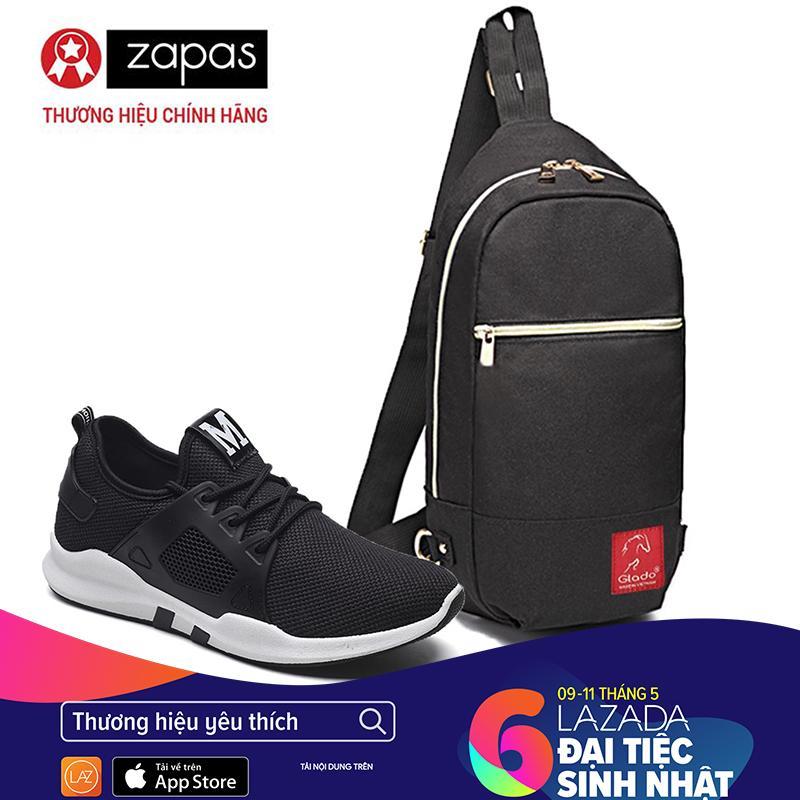 Ôn Tập Trên Combo Giay Sneaker Nam Zapas Gz020 Mau Đen Tui Messenger Dcg028 Đen Cb341