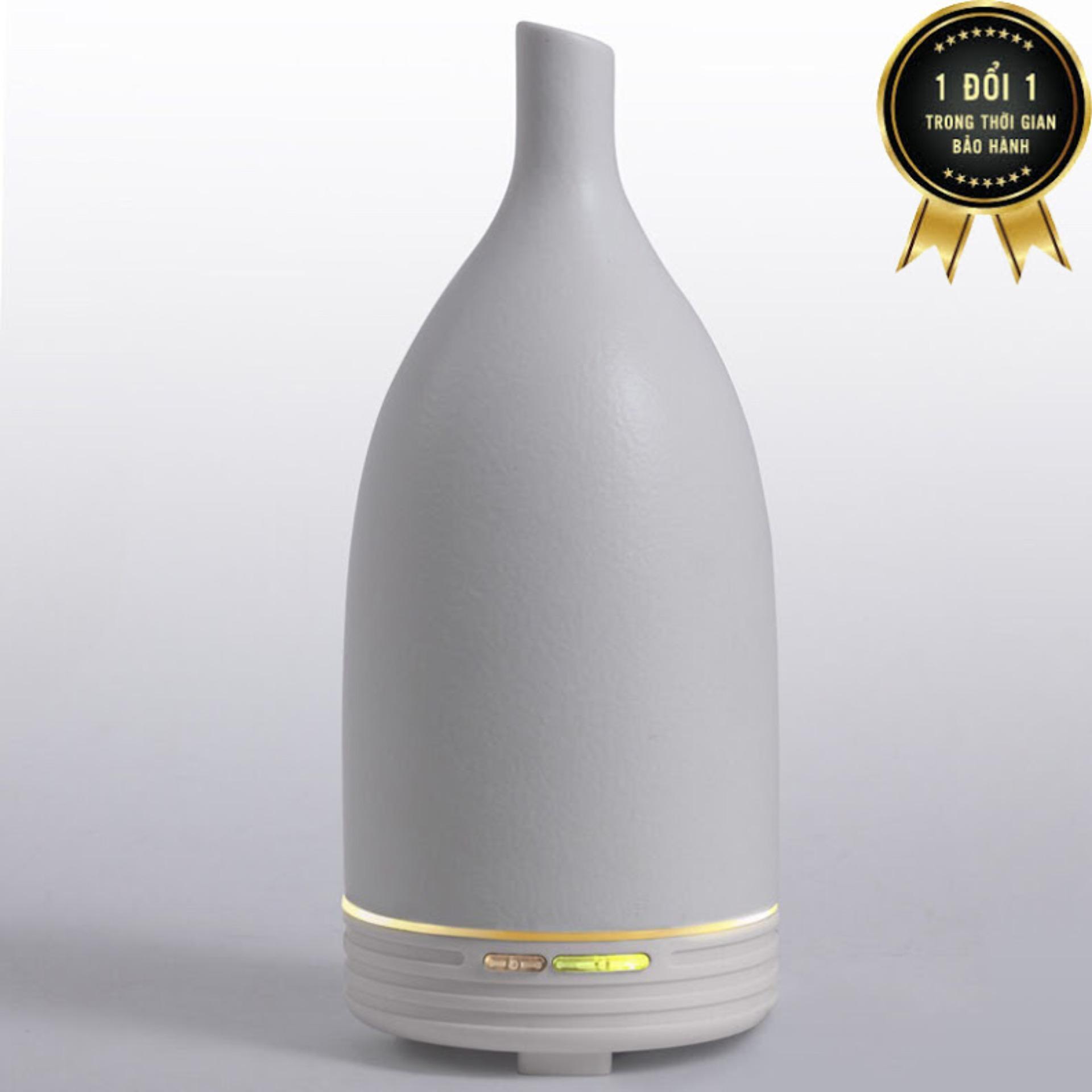 Hình ảnh Máy khuếch tán tinh dầu gốm trắng cao tặng 10ml tinh dầu bạc hà ngọc tuyết