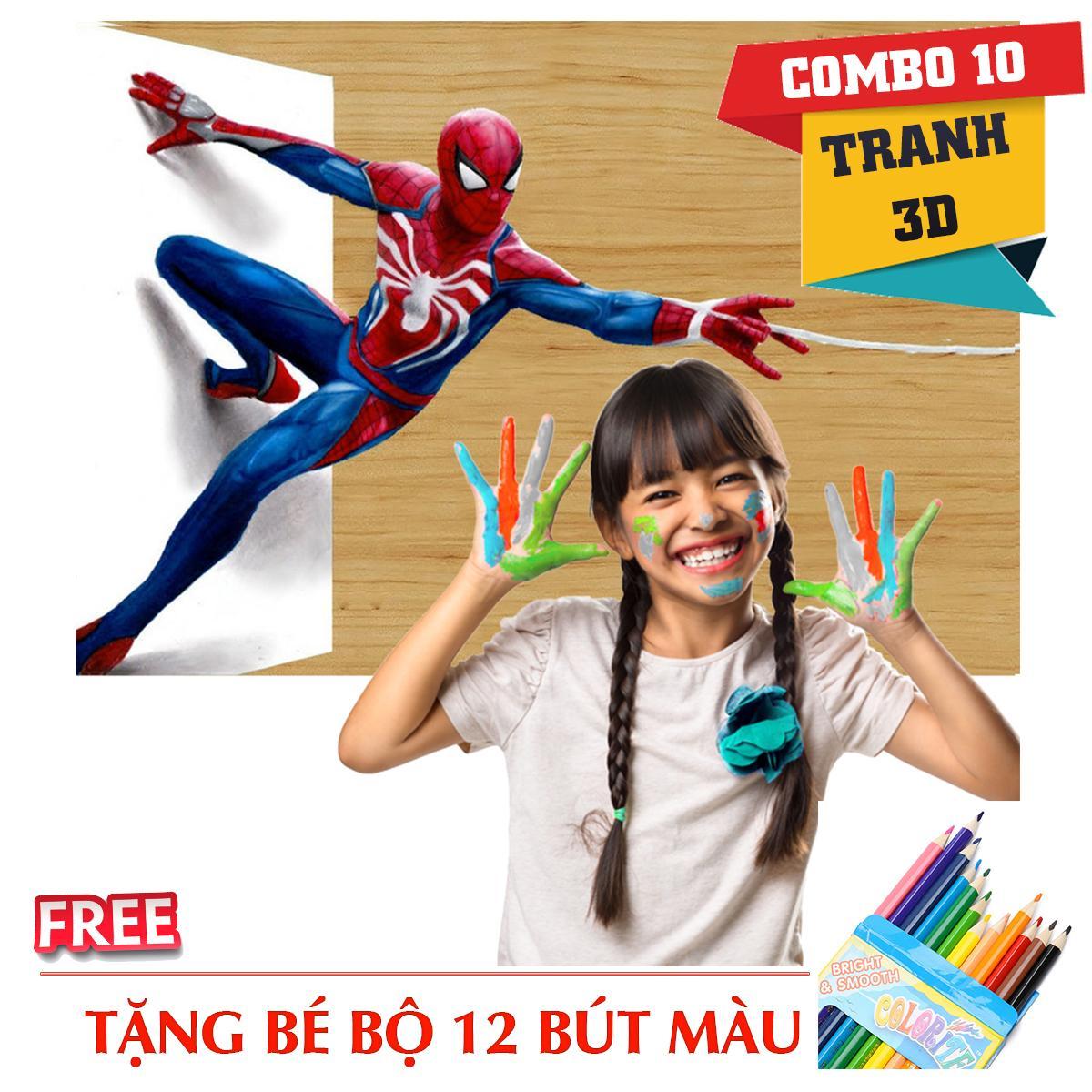Hình ảnh Combo 10 tranh tô màu 3D + 50 bút màu - TẶNG FREE HỘP MÀU
