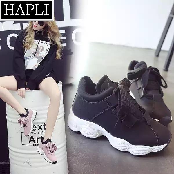Hình ảnh (Video thực tế) HÀNG CAO CẤP (đừng so với loại rẻ) Giày thể thao nữ HOT TREND ULZZANG đế gồ kiểu Hàn Quốc HAPLI (hồng, đen)
