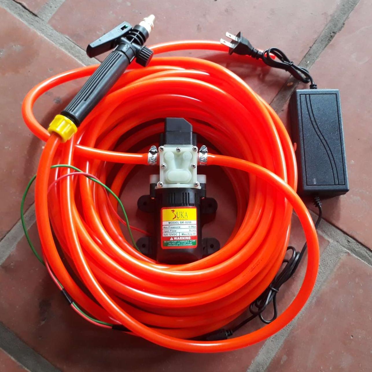 Hình ảnh Máy rửa xe mini CỰC MẠNH 6m dây-máy bơm nước mini 12v - rửa xe đa năng